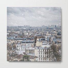 Snowy Paris Metal Print
