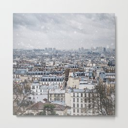 Snowy Paris Metal Print