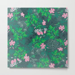 Forest Wildflowers at Daybreak / Emerald Background Metal Print