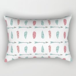 Bohemian pink blue aztec floral arrows feathers pattern Rectangular Pillow