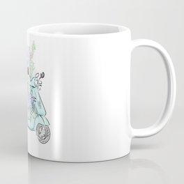 flowers and scooter. Flowers art Flower Art Print. Coffee Mug