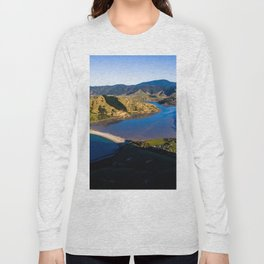 cable bay blue lagune panorama drone shot Long Sleeve T-shirt