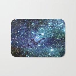 GalaxY Nebula Blue Teal Indigo Bath Mat