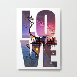 LOVE Digital Painting Typography Metal Print