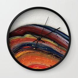 Vibrant Acrylic Pour Painting Wall Clock