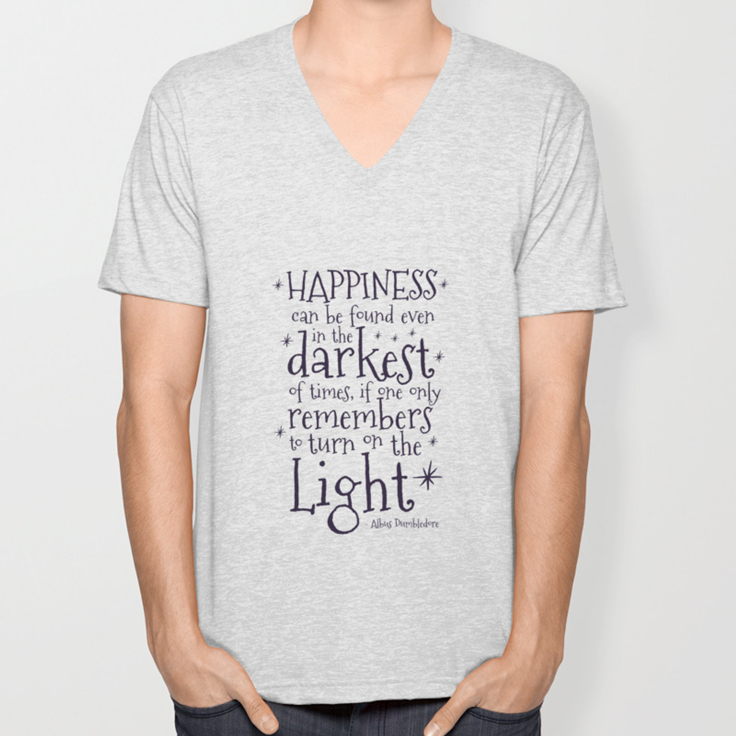 60f23fea8 HAPPINESS CAN BE FOUND EVEN IN THE DARKEST OF TIMES - DUMBLEDORE QUOTE  Unisex V-Neck by danielaenriquez | Society6