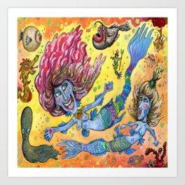 Blue-Finned Mermaids watercolor Art Print