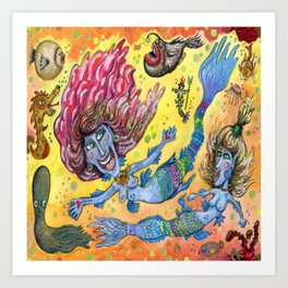 Blue-Finned Mermaids watercolor Art Print