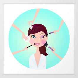 Wellness girl : blue cosmetology Art Print