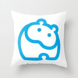 Blue hippo Throw Pillow