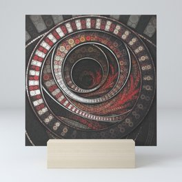 Beautiful Striped Fractal Circles, the Thousand and One Rings of the Circus Mini Art Print