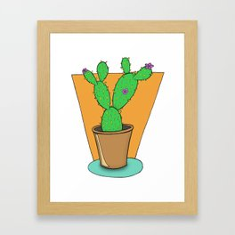 Cacti with Flowers Framed Art Print