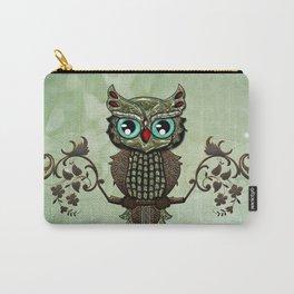 Cute  owl, green diamond Carry-All Pouch