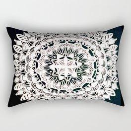 Metallic White Floral Mandala on Black Background Rectangular Pillow
