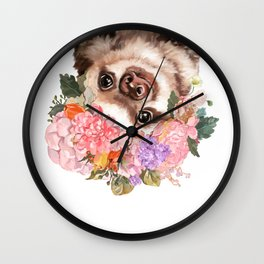 Baby Sloth with Flowers Crown in White Wall Clock