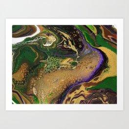 Fluid Gold XII - Abstract, textured, fluid, acrylic painting Art Print