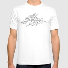 frog on leaf White MEDIUM Mens Fitted Tee