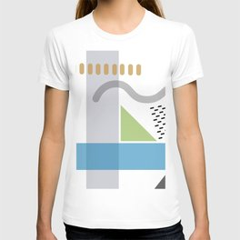 Geometric abstract art, pastel tones shapes and dots print T-shirt