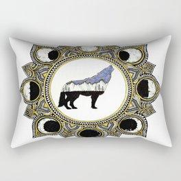 Double Exposure Wolf Howling at the Moon Mandala Rectangular Pillow