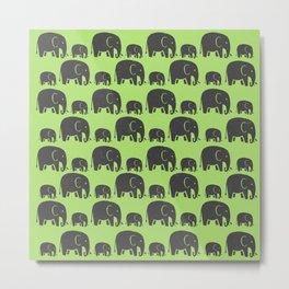 Elephant Wild Green Metal Print