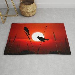 Blackbirds On Red Sunset. Rug