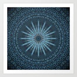 Decorative Light Blue Textured Mandala Design Art Print