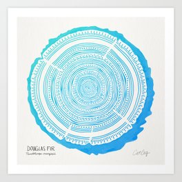 Douglas Fir – Blue Ombré Art Print