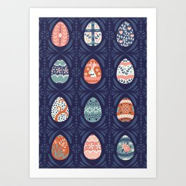 Ornate Easter Eggs on Blue Art Print