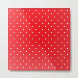 Small White Polka Dots with Red Background Metal Print