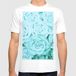 Turquoise roses - flower pattern - Vintage rose T-shirt