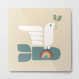Peace dove and rainbow bomb Metal Print