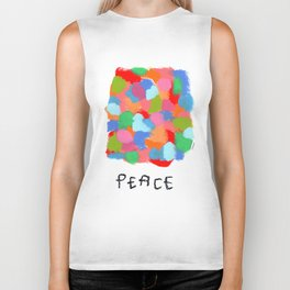 Colorful Abstract Peace Typography When We Appreciate Every Color In This World no.2 Biker Tank