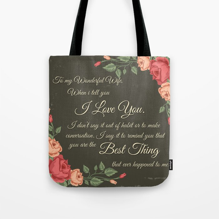 Best Gift To Wife Say I Love You Tote Bag By Kacreativedesign