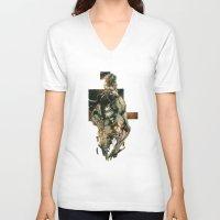 metal gear solid V-neck T-shirts featuring Metal Gear Solid 5 by Hisham Al Riyami