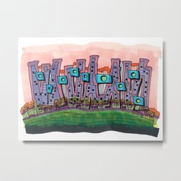 Waterfront Apartments Architectural Illustration 57 Metal Print