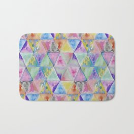 Geometric watercolor hand paint triangles pattern Bath Mat