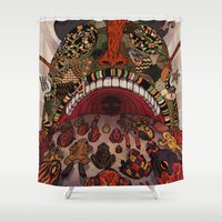 swallow Shower Curtains featuring swallow frogs by zansky