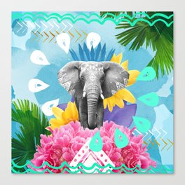 Elephant Festival - Blue Canvas Print