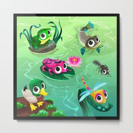 Funny animals in the pond Metal Print