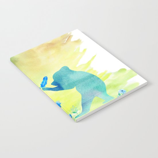 Playing bear kids - Animal Watercolor illustration Notebook