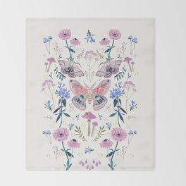 Lilac Butterfly and Flowers Throw Blanket