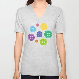Colorful Rainbow Buttons Unisex V-Neck