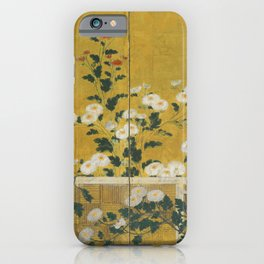 Red and White Chrysanthemums Vintage Japanese Gold Leaf Screen iPhone Case