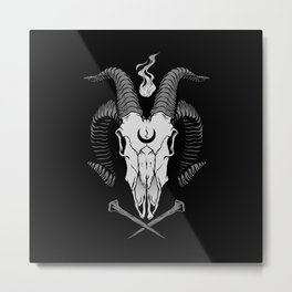 Occult Goat Skull Metal Print