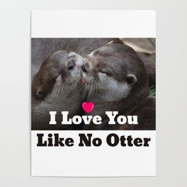 I Love You Like No Otter Cute Wildlife Photo Poster