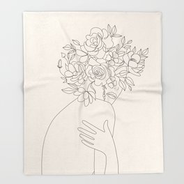 Woman with Flowers Minimal Line III Throw Blanket