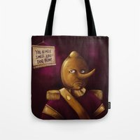 lemongrab Tote Bags featuring Earl of Lemongrab by TheNazzaro