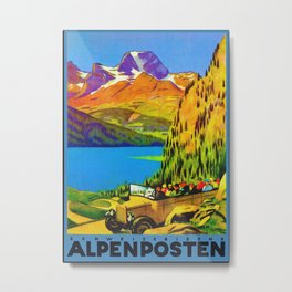 Vintage Switzerland Alpine Coach Travel Metal Print