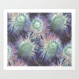 Artfully abstract blooming ice flowers Art Print