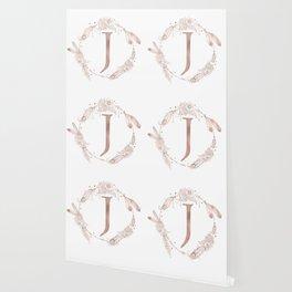 Letter J Rose Gold Pink Initial Monogram Wallpaper